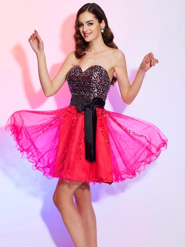 A-Line Sweetheart Sleeveless Sash/Ribbon/Belt Short Organza Debs Dress