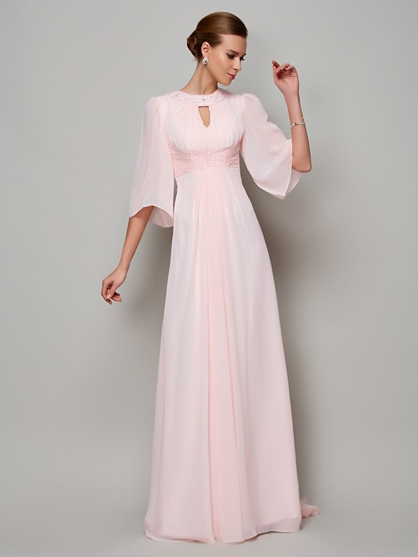 A-Line High Neck 1/2 Sleeves Beading Long Chiffon Dresses