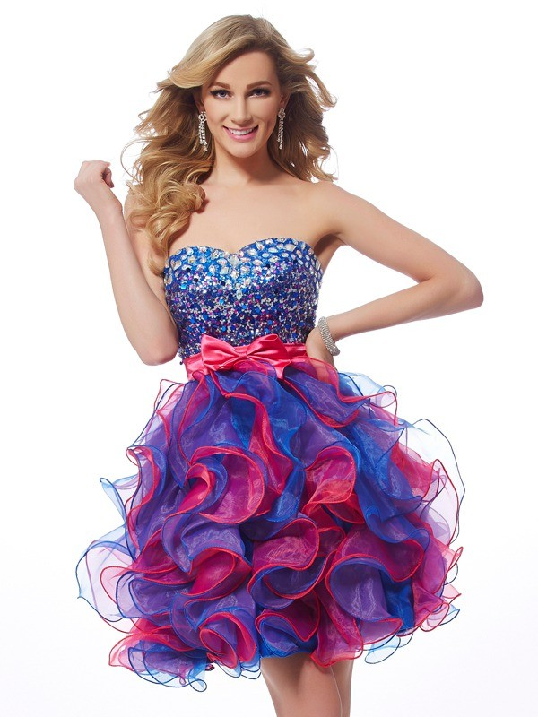 A-Line Sweetheart Sleeveless Sequin Short Organza Debs Dress