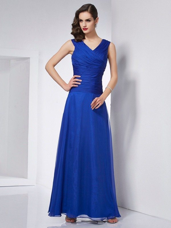 A-Line V-neck Sleeveless Pleats Long Chiffon Dresses