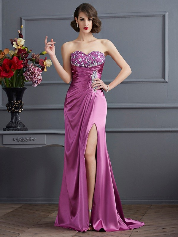 Sheath Sweetheart Sleeveless Beading Long Elastic Woven Satin Dresses