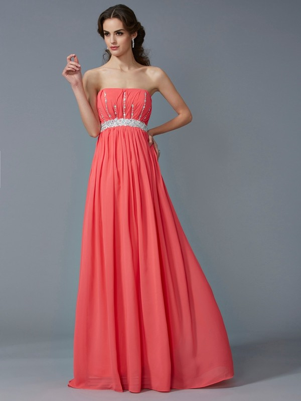 A-Line Strapless Sleeveless Beading Long Chiffon Dresses