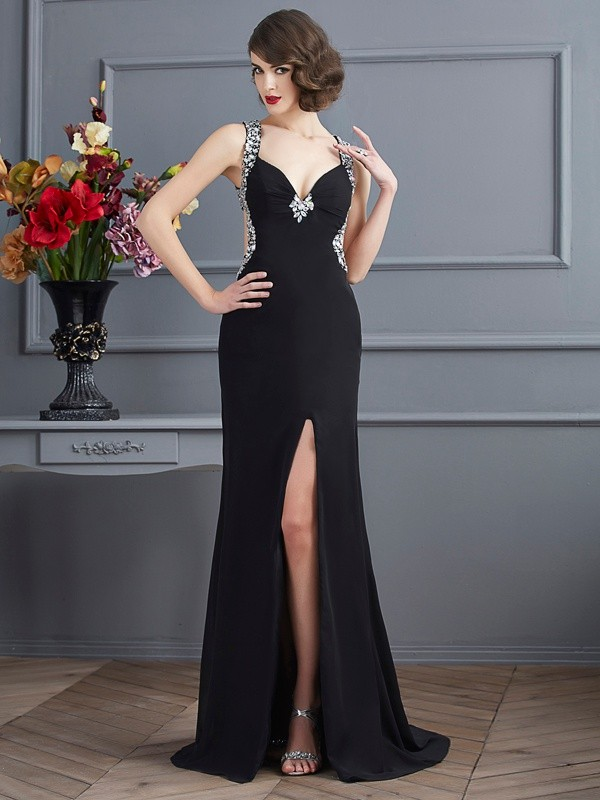 Sheath Straps Sleeveless Beading Long Chiffon Dresses