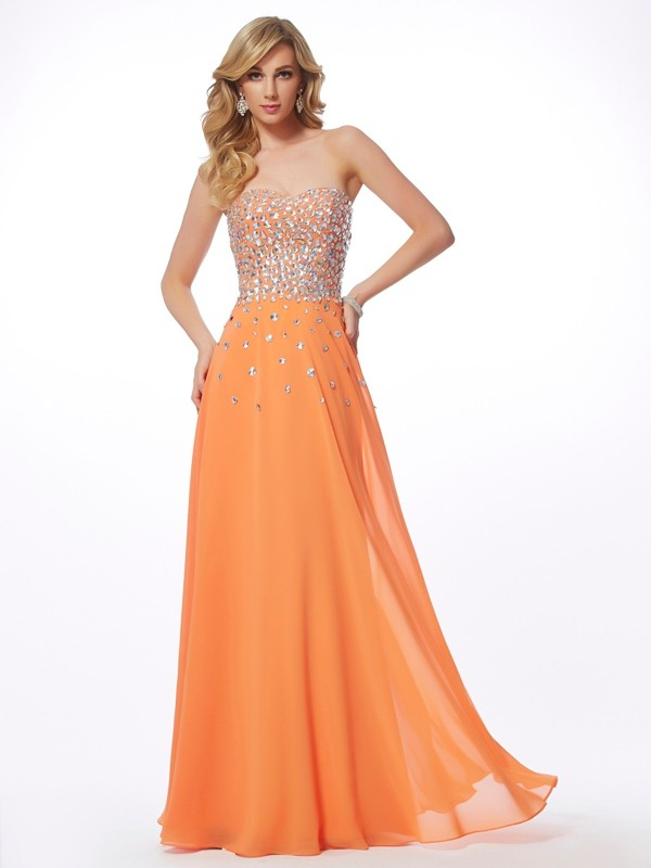 A-Line Sweetheart Sleeveless Rhinestone Long Chiffon Dresses