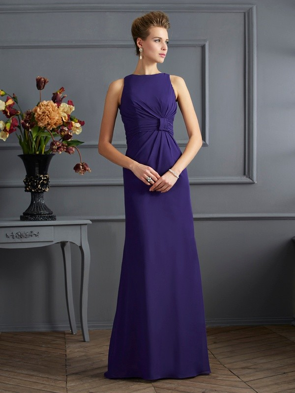 Sheath Bateau Sleeveless Pleats Long Chiffon Dresses