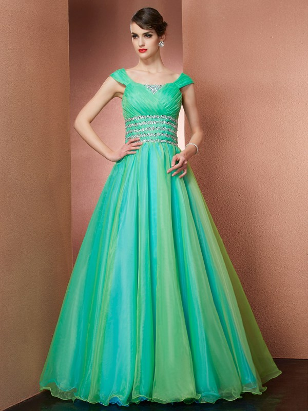 Ball Gown Off the Shoulder Sleeveless Beading Long Satin Debs Dress