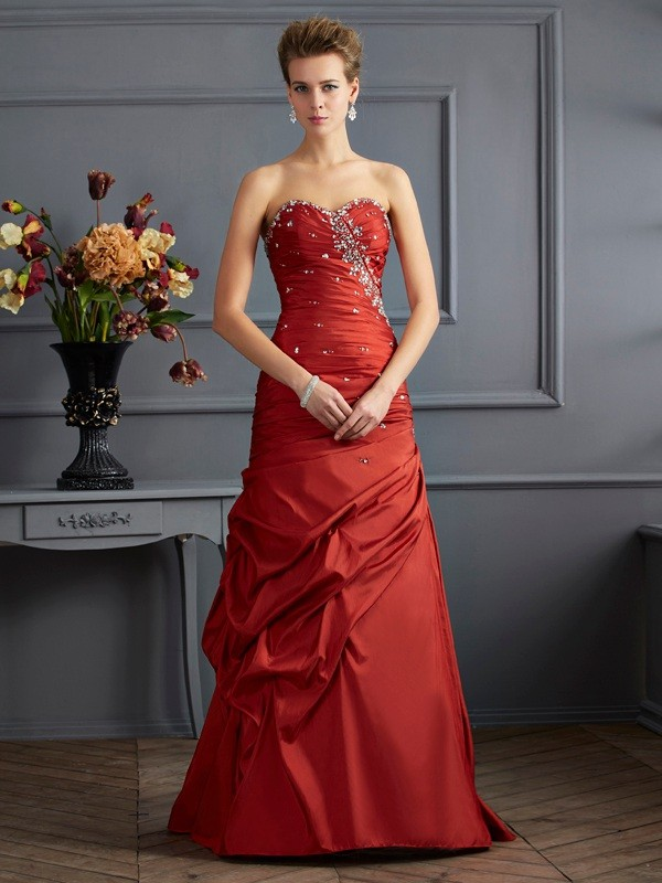 Mermaid Sweetheart Sleeveless Beading Long Taffeta Dresses