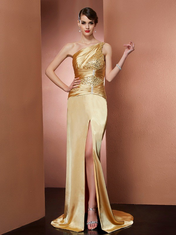 Sheath One-Shoulder Sleeveless Beading Long Elastic Woven Satin Dresses