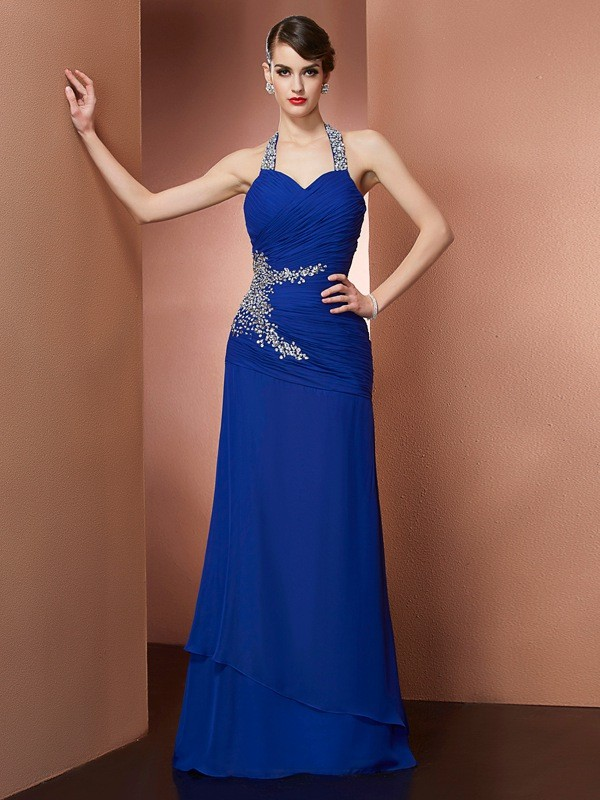 Sheath Halter Sleeveless Beading Long Chiffon Dresses