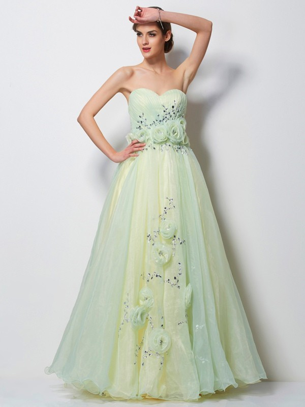 A-Line Sweetheart Sleeveless Hand-Made Flower Long Satin Dresses
