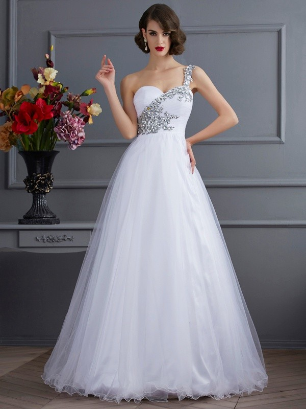 Ball Gown One-Shoulder Sleeveless Beading Long Elastic Woven Satin Debs Dress
