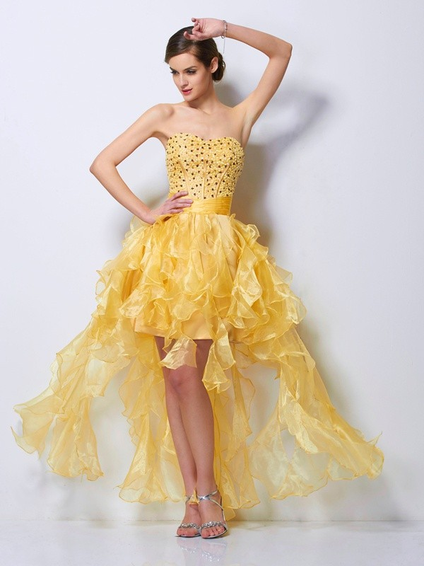 A-Line Sweetheart Sleeveless Beading High Low Tulle Debs Dress