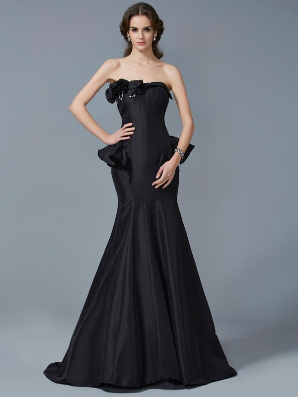 Mermaid Strapless Sleeveless Ruffles Long Taffeta Dresses