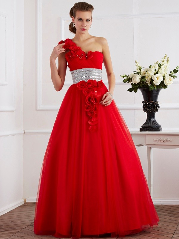 Ball Gown One-Shoulder Sleeveless Hand-Made Flower Long Net Debs Dress