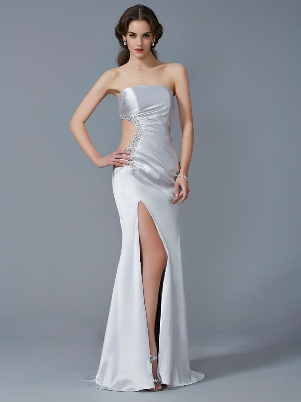 Mermaid Strapless Sleeveless Beading Long Elastic Woven Satin Dresses