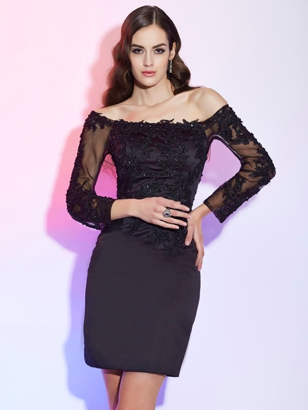Sheath Off the Shoulder Long Sleeves Applique Short Satin Dresses