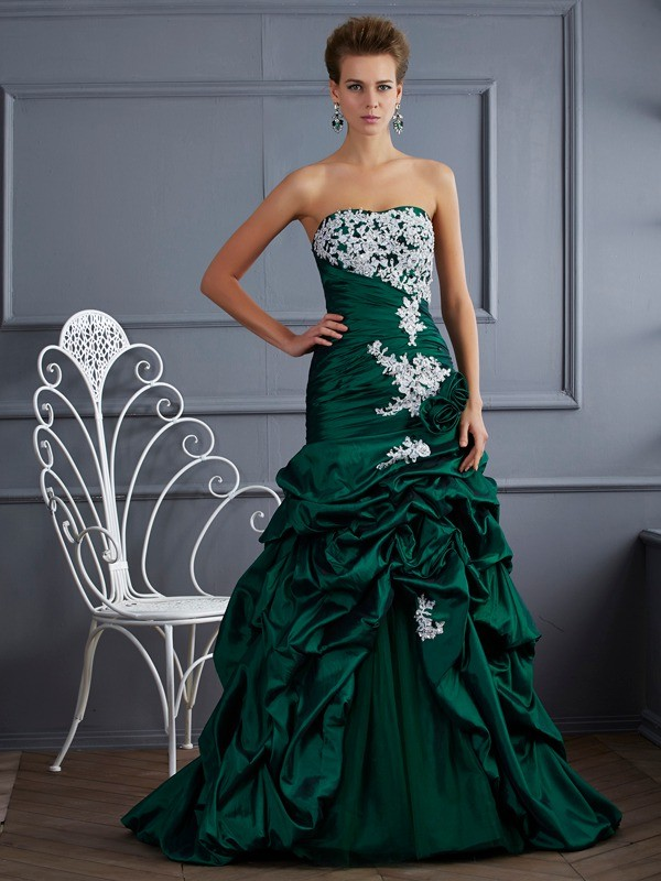 Ball Gown Strapless Sleeveless Applique Long Taffeta Debs Dress