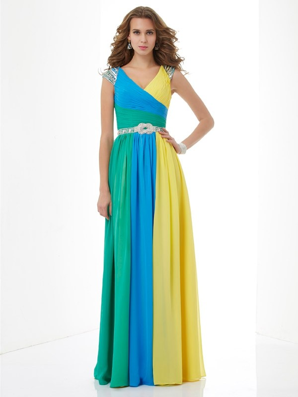 A-Line V-neck Short Sleeves Beading Long Chiffon Dresses