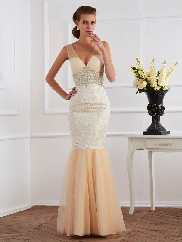 Mermaid Straps Sleeveless Beading Long Net Dresses