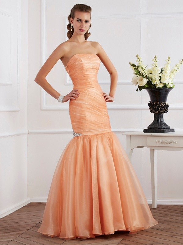 Mermaid Strapless Sleeveless Beading Long Tulle Dresses