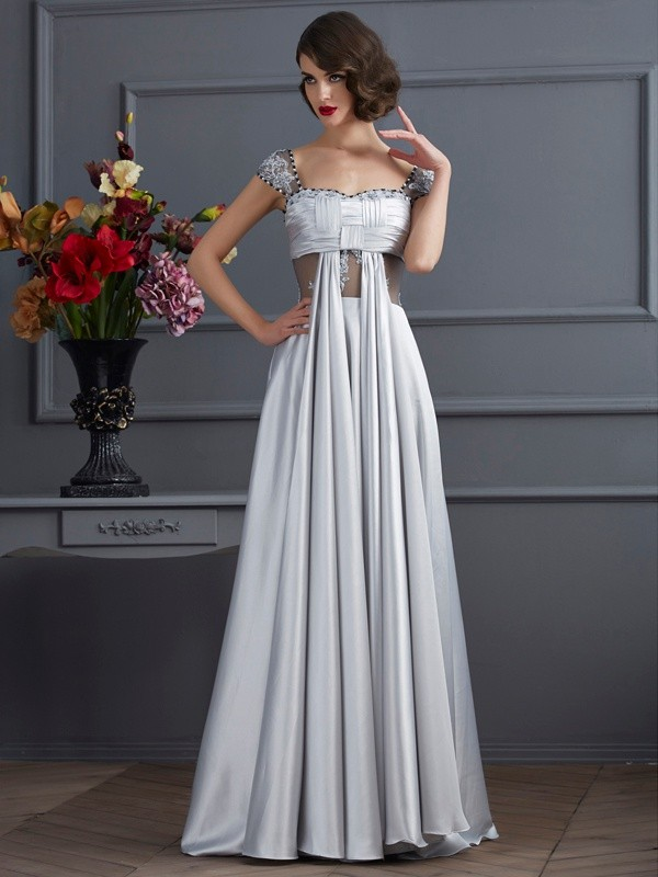 A-Line Off the Shoulder Sleeveless Pleats Long Elastic Woven Satin Dresses