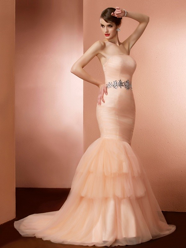 Mermaid Strapless Sleeveless Beading Long Net Dresses