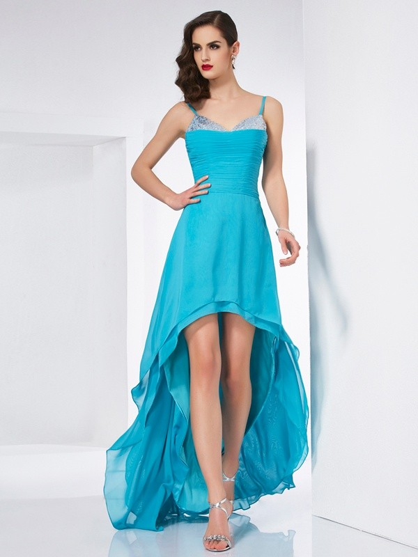 A-Line Spaghetti Straps Sleeveless High Low Chiffon Dresses