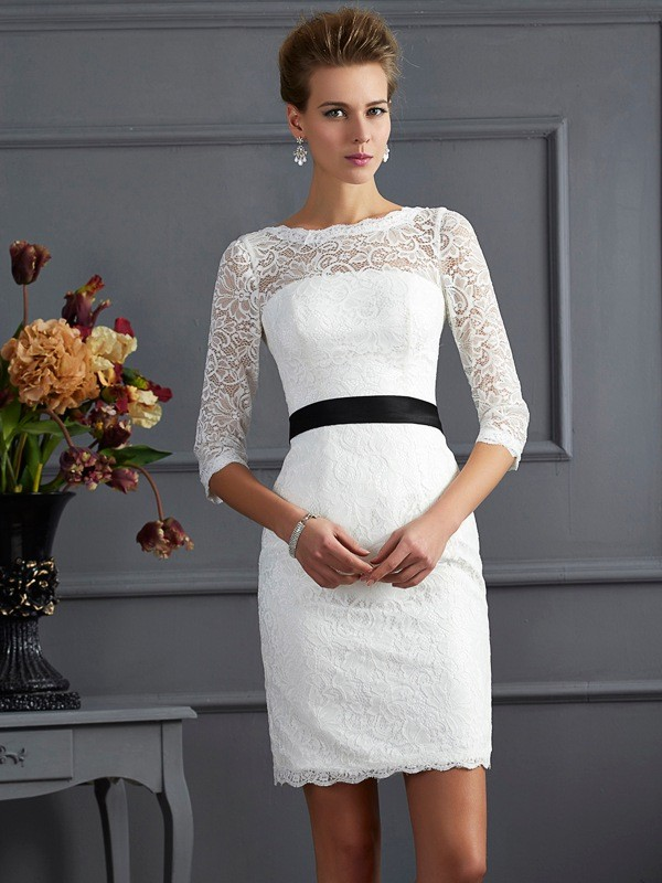Sheath Scoop 3/4 Sleeves Sash/Ribbon/Belt Short Lace Dresses