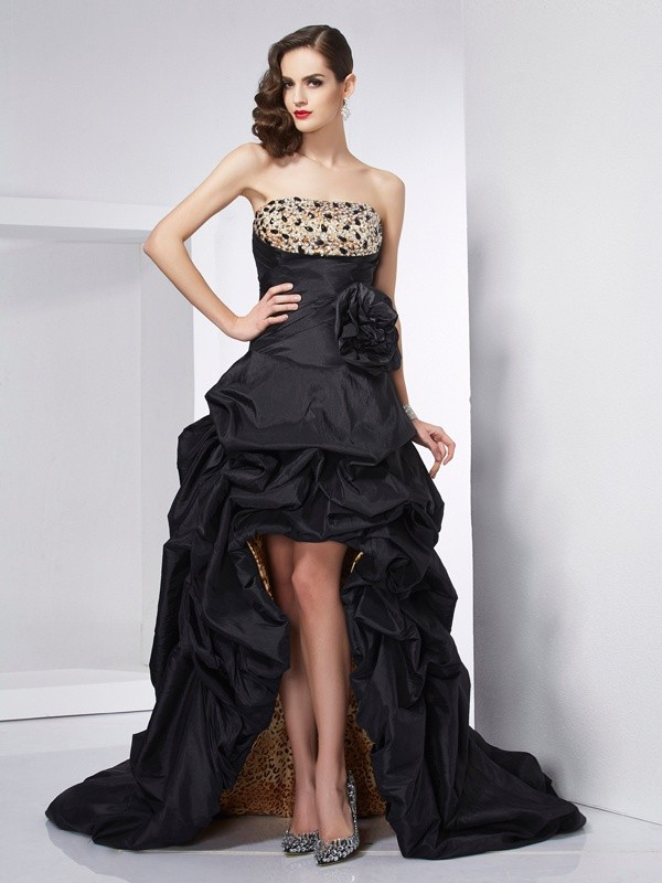 A-Line Strapless Sleeveless Beading High Low Taffeta Dresses