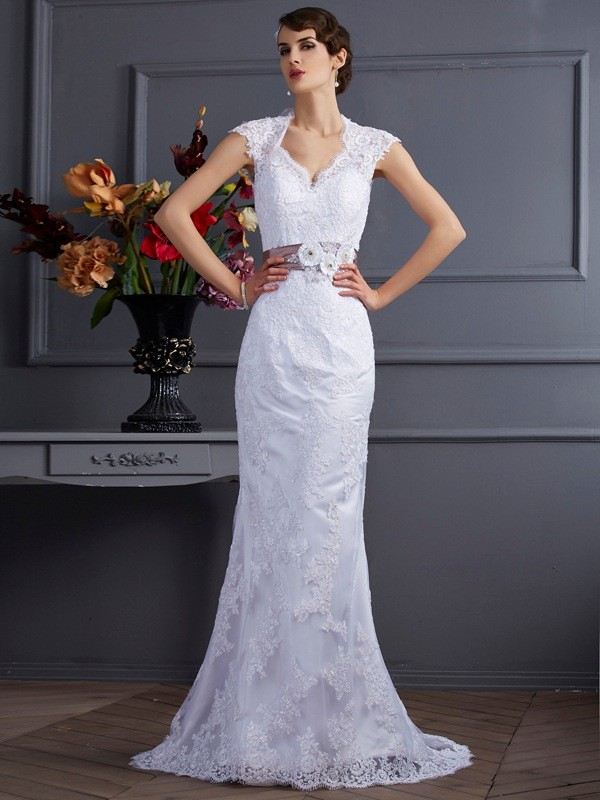 Mermaid Sleeveless Applique Long Satin Wedding Dresses