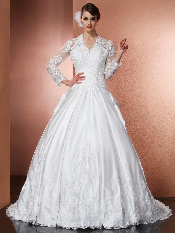 A-Line V-neck Long Sleeves Applique Long Satin Wedding Dresses