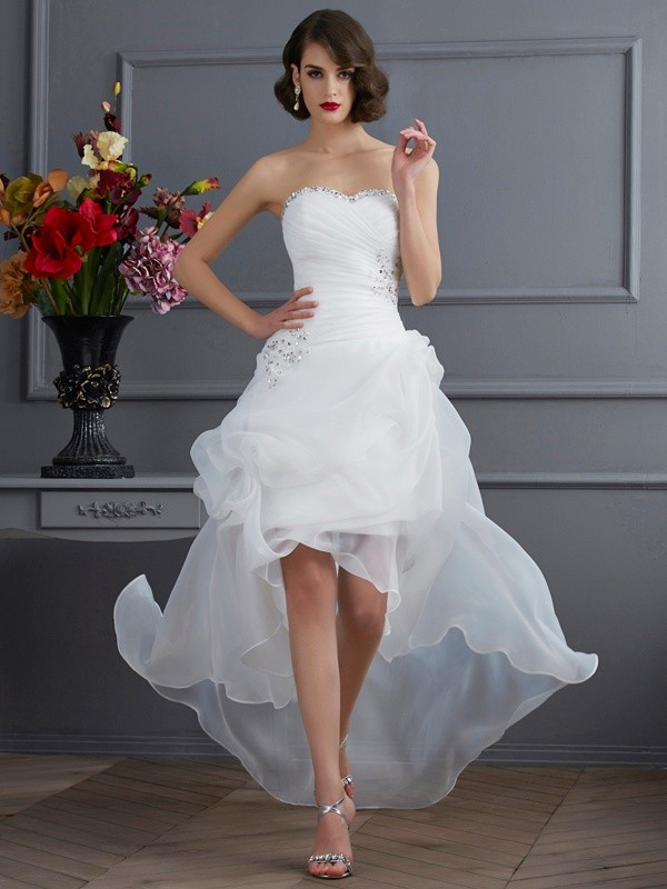 A-Line Sweetheart Sleeveless Beading High Low Organza Wedding Dresses