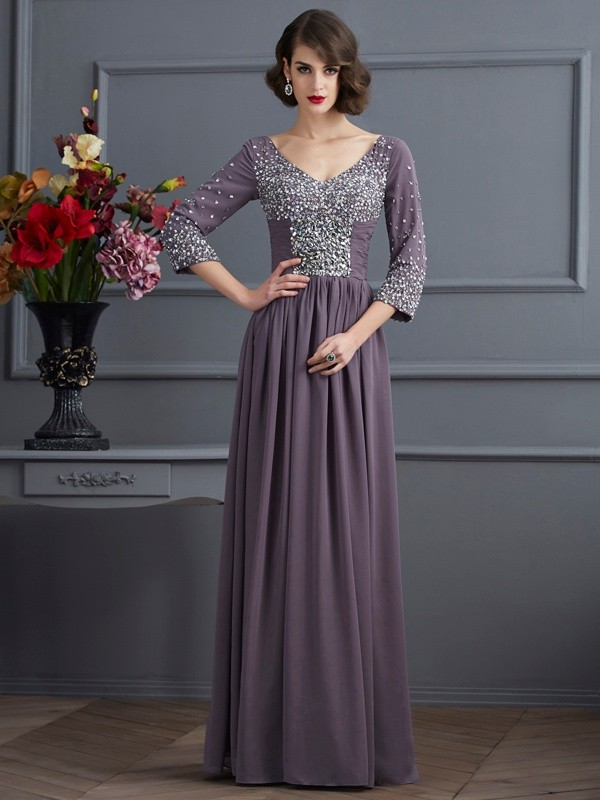 Sheath V-neck 3/4 Sleeves Beading Long Chiffon Dresses
