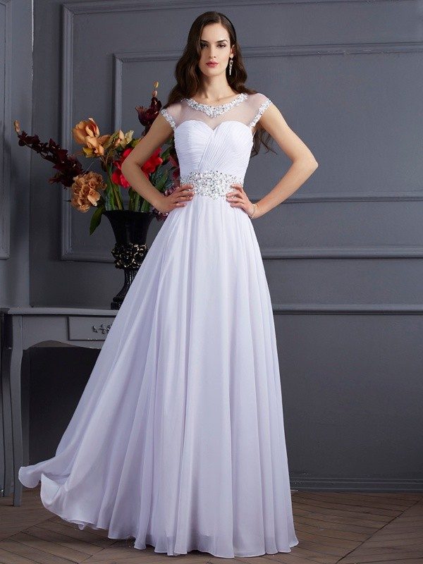A-Line Bateau Short Sleeves Beading Long Chiffon Dresses