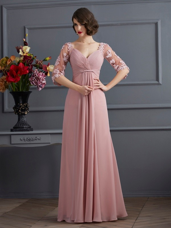 A-Line Sweetheart 1/2 Sleeves Beading Long Chiffon Dresses