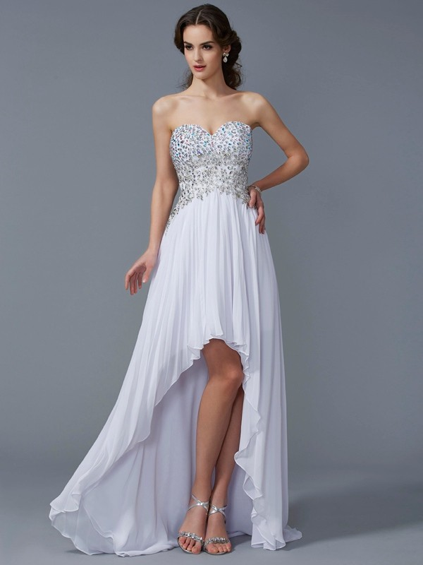 A-Line Sweetheart Sleeveless Beading High Low Chiffon Dresses