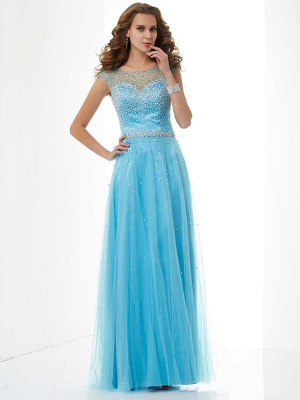 Sheath High Neck Sleeveless Beading Long Net Dresses
