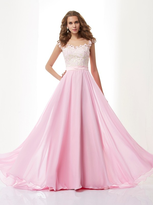 A-Line Straps Applique Sleeveless Beading Long Chiffon Dresses