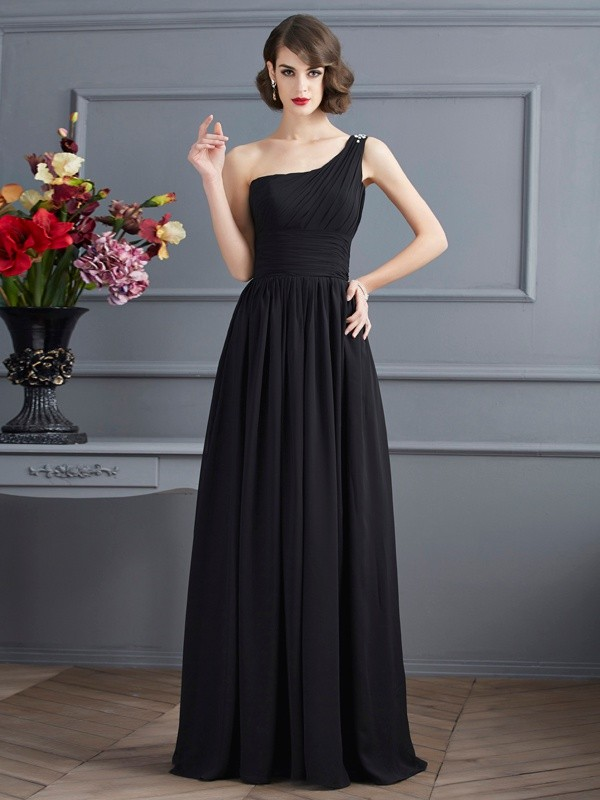 A-Line One-Shoulder Sleeveless Chiffon Long Dresses