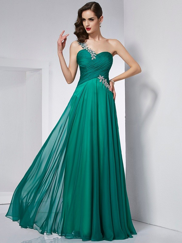 A-Line One-Shoulder Sleeveless Long Chiffon Dresses