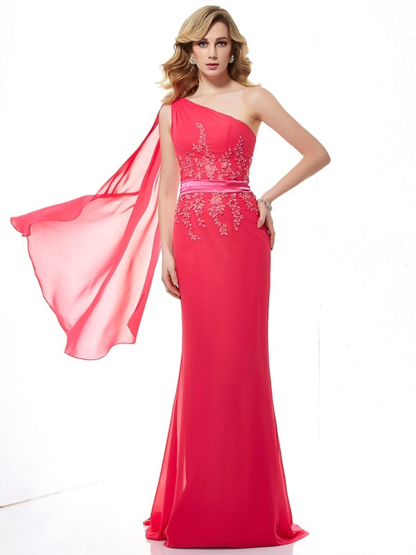 Sheath One-Shoulder Applique Sleeveless Beading Long Chiffon Dresses