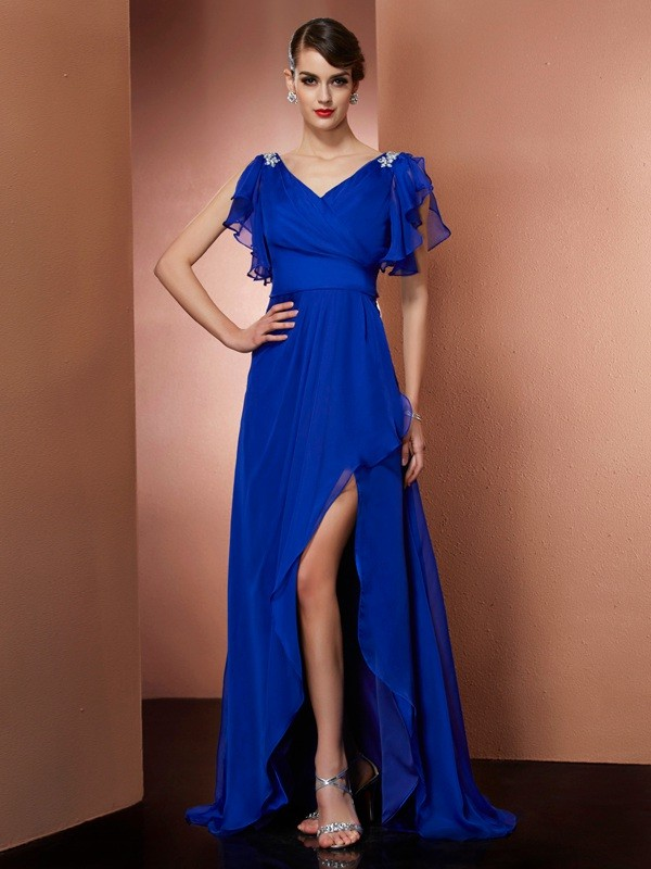 A-Line V-neck Sleeveless Beading High Low Chiffon Dresses