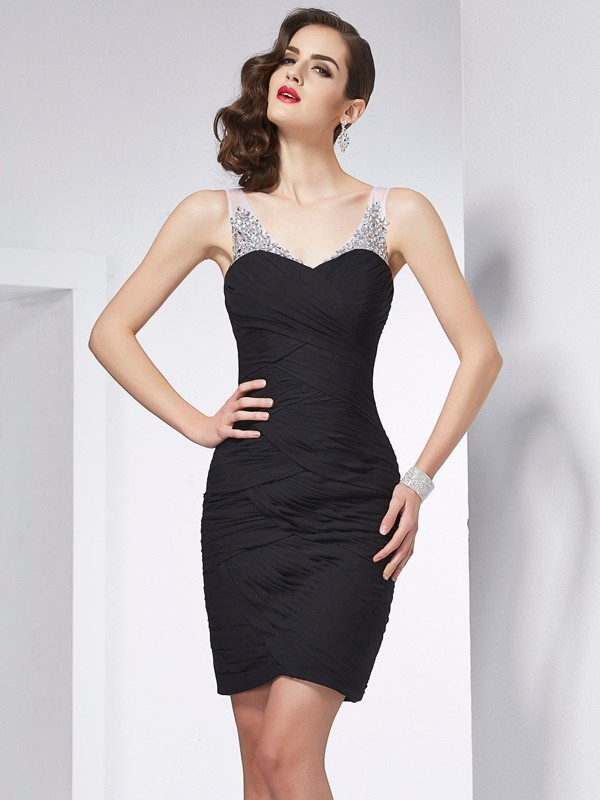 Sheath Straps Sleeveless Beading Short Chiffon Debs Dress