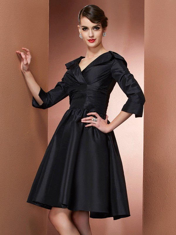 A-Line V-neck 3/4 Sleeves Short Taffeta Dresses