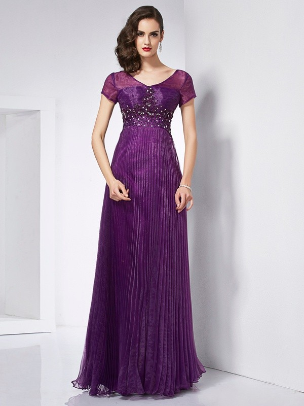 A-Line V-neck Short Sleeves Beading Long Organza Dresses