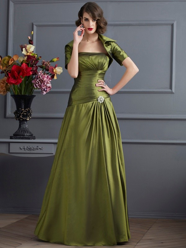 A-Line Strapless Sleeveless Beading Long Taffeta Dresses