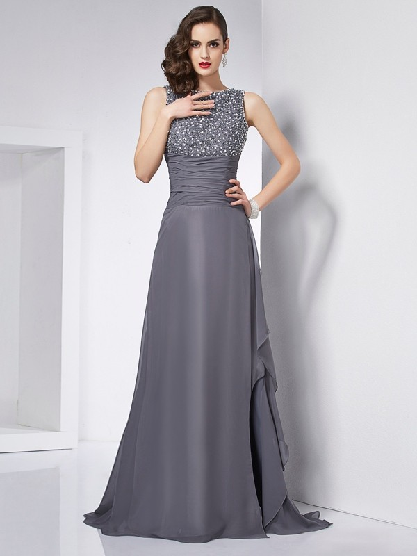 A-Line Jewel Sleeveless Beading Long Chiffon Dresses