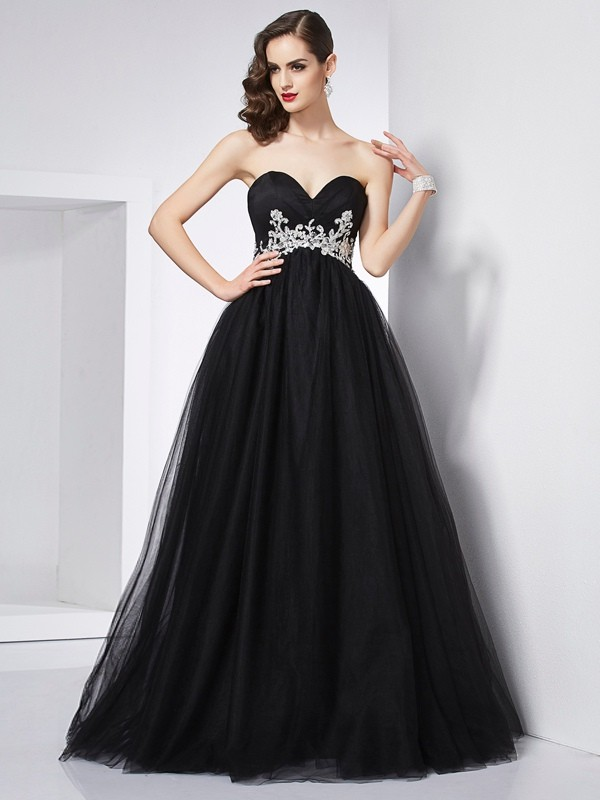 Ball Gown Sweetheart Sleeveless Applique Long Net Debs Dress