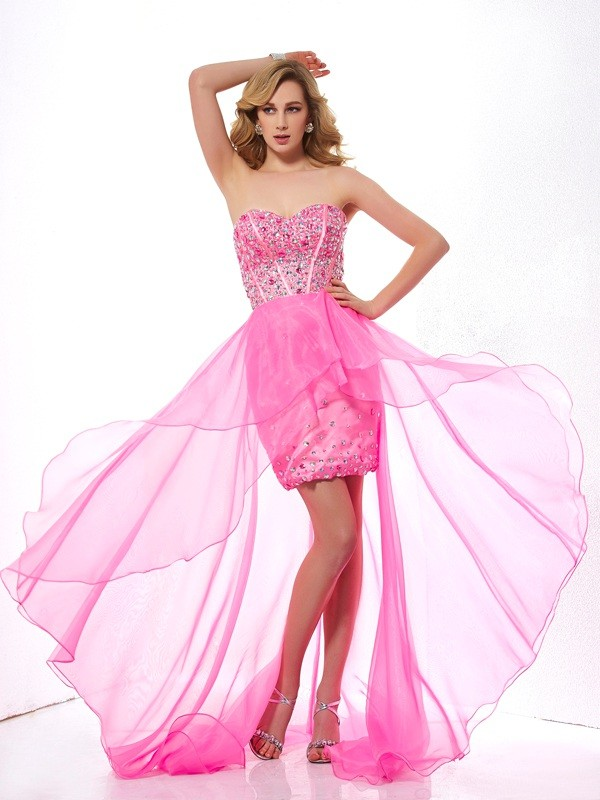 A-Line Sweetheart Sleeveless Beading High Low Organza Dresses