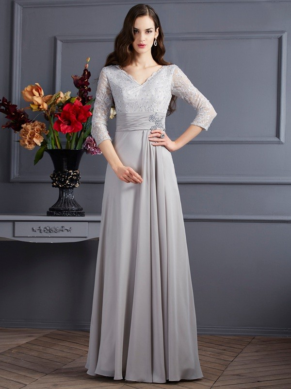 A-Line V-neck 3/4 Sleeves Applique Long Chiffon Dresses